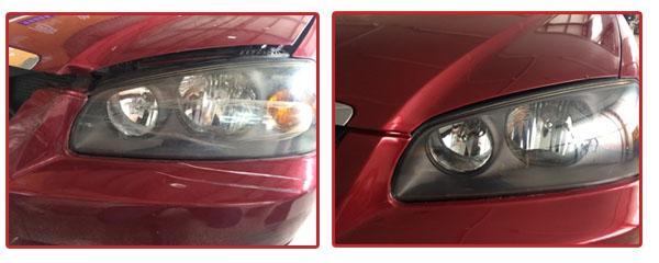 汽车大灯修复前后对比
